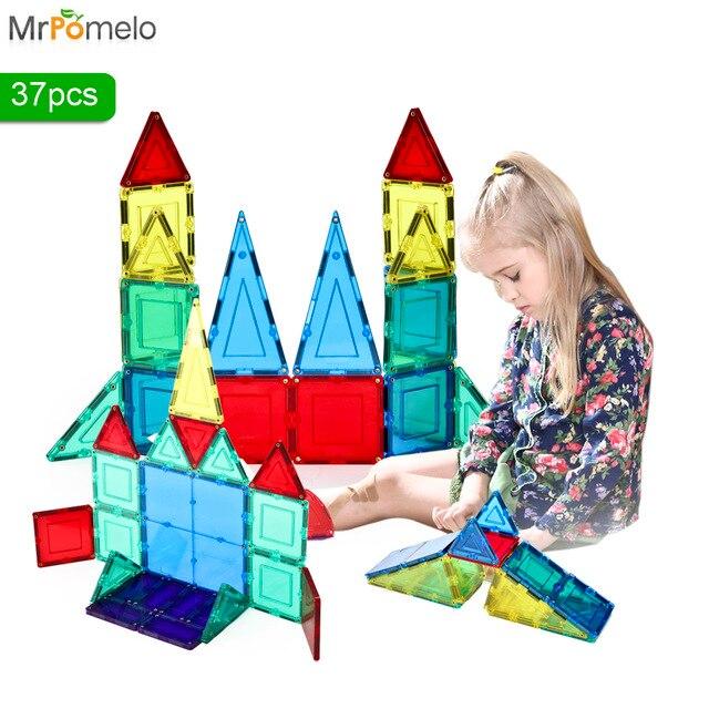 Mrpomelo Children Clear Geometric Shapes Magnetic Tiles Building Blocks 37 Piece Educational Set Toys