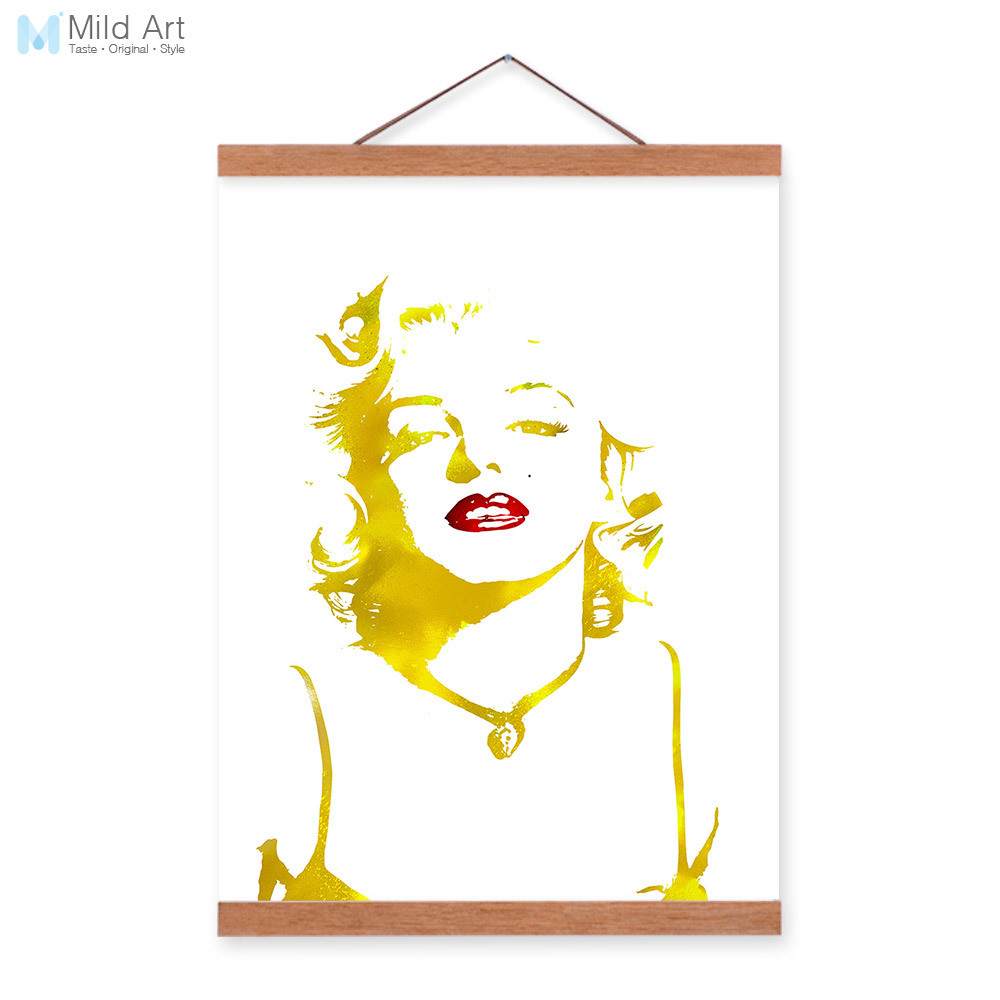 Watercolor Modern Pop Marilyn Monroe Gold Portrait Wooden Framed ...