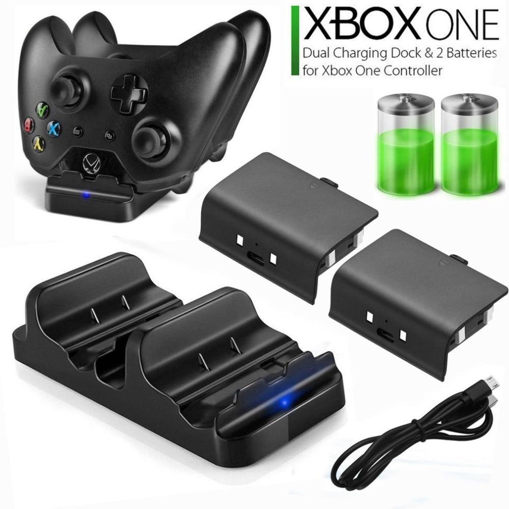 Universal duplo carregamento doca controlador carregador + 2pcs baterias recarregáveis para xbox uma bateria recarregável stander