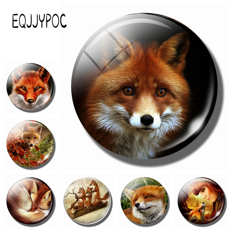 Lovely Red Fox Fridge Magnets Cute Animals 30MM Glass Crystal Magnetic Stickers Refrigerator Decorations Kitchen Home Decor Gift|fridge magnet sticker|magnetic sticker|magnet sticker -
