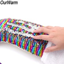 OurWarm 60x45cm Big Sparkly Mermaid Tail Christmas Stocking Magic Reversible Sequin New Year's Gift Bag Christmas Presents Sacks