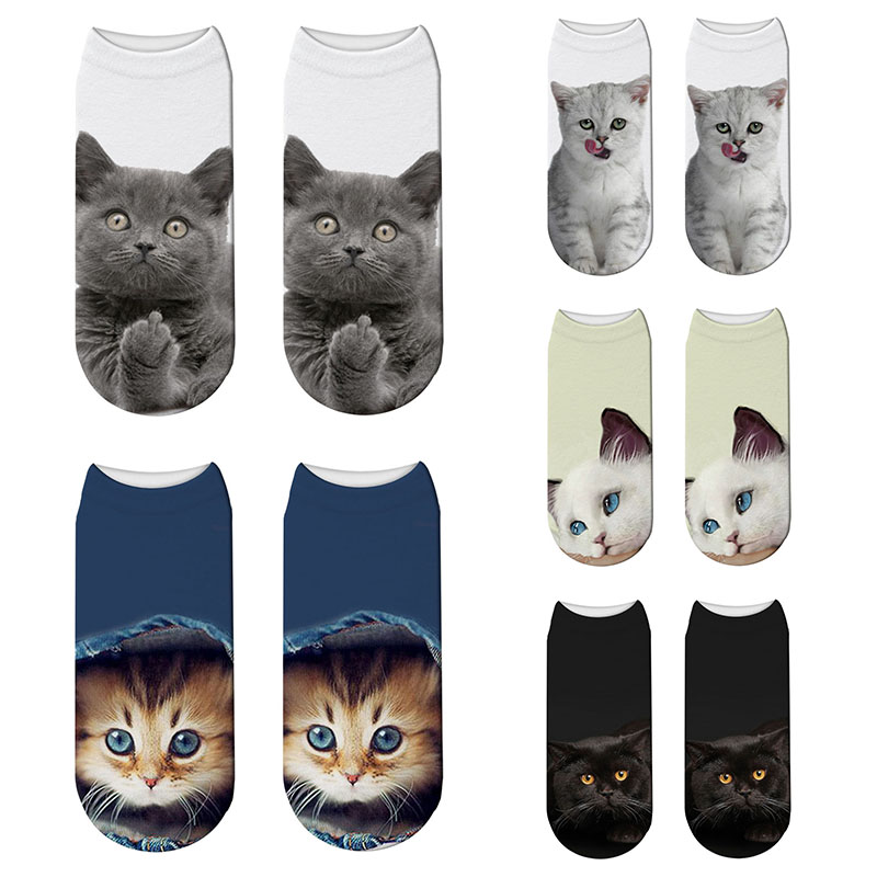 New 3D Printed Kitten Socks Cute Cartoon Unisex Socks Fun Funny Different Color Different Cat Face Socks Free Shipping