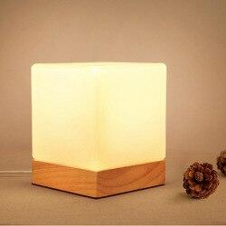 YOOK 12 cm X 15 cm 2018 LED lampa stołowa drewniana lampa stołowa łóżko dla sypialnia plac lampa stołowa E27 110 V 220 V w Lampy stołowe LED od Lampy i oświetlenie na