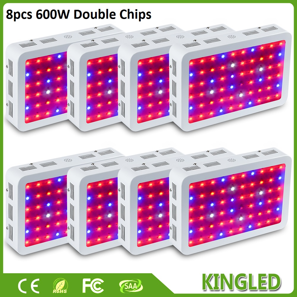 8pcs KingLED 600W Double Chips LED Grow Light Full Spectrum For Indoor Plants and Flower Phrase Very High Yield LED Grow Light 300w full spectrum high yield led grow light best for hydroponics indoor plants grow and flower
