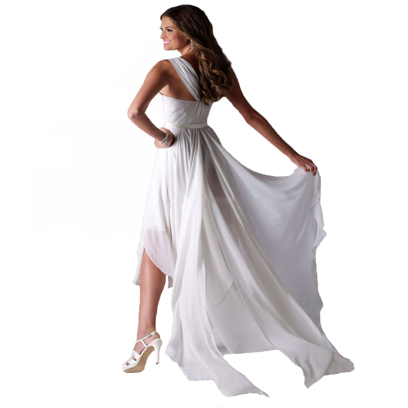 vestido de noiva One Shoulder High Low Short Front Long Back Beach Wedding Dresses Bride Gowns 4
