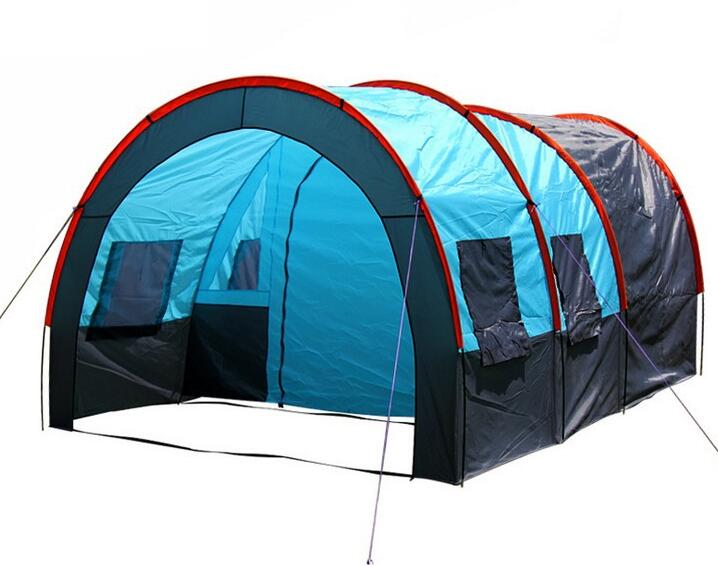5 10 person big doule layer tunnel tent outdoor camping for Tent a house