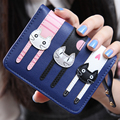 Women Wallet card 5Colour PU Leather carteira Coin Purse women's  Leather wallet Female Purse Cartoon Pussy Cat  wallet sml12309