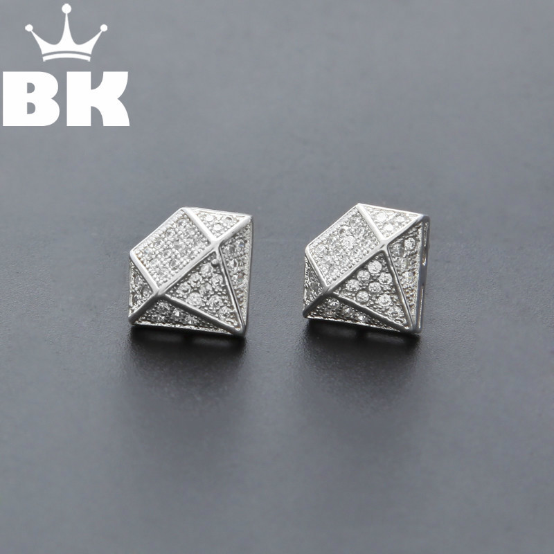 Hip Hop Full Iced Out Cz Simulated Diamonds Earring Silver Color Irregular Copper Earring High Quality - Earrings For Men