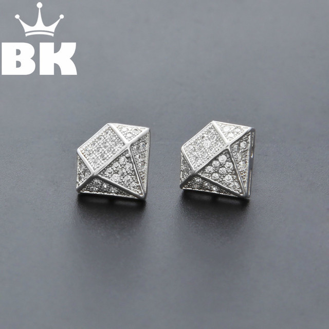 Hip Hop Full Iced Out Cz Simulated Diamonds Earring Silver Color Irregular Copper High Quality