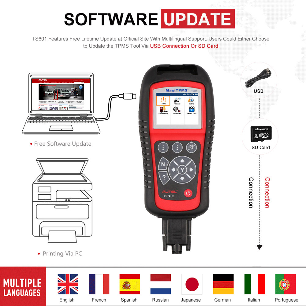 Image 5 - AUTEL MaxiTPMS TS601 Car OBD2 Diagnostic Tool Activate Tire Sensor TPMS Reprogramming Automotive Code Reader Scanner PK TS501