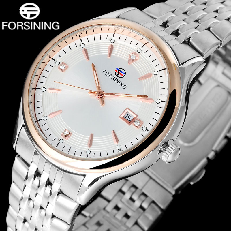 FORSINING Men's Fashion Quartz Watches Men Dress Stainless Steel Calendar Wirstwatches Relogio Masculino 2015 forsining relogio pmw342
