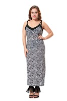 Plus Size Leopard Print Dress Women Maxi Party Dress Sexy Sleeveless Slip Dress With Split Design
