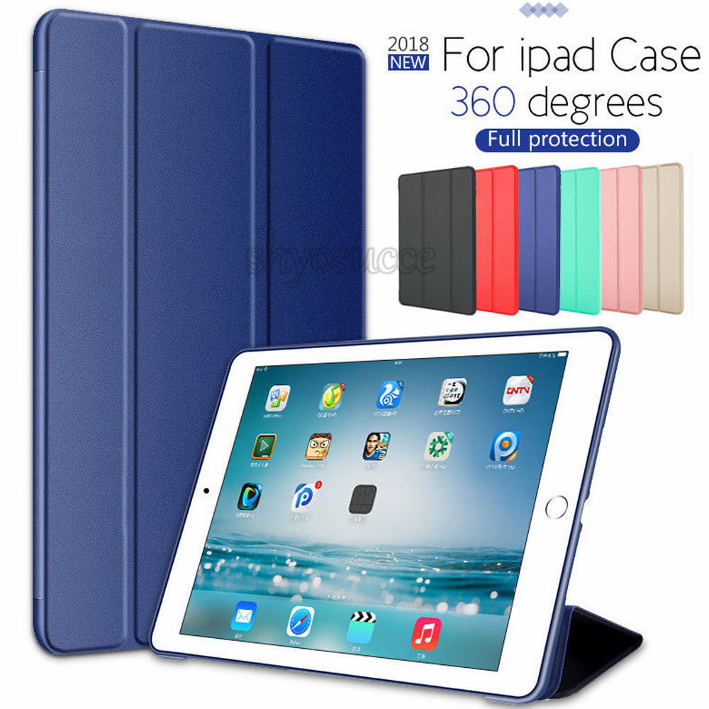 Silicone Soft Back Slim Pu Leather Case For iPad Air 2 Air 1 Case 2018 9.7 Smart Cover Case for iPad 2018 6th generation Case