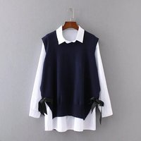 2 Piece Set Oversized fashion leisure women sleeveless sweater vest + White shirt Plus size XL,XXL,3XL,4XL Casual Set K17 84F