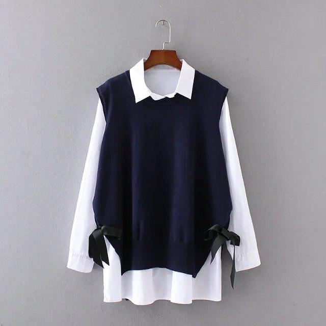 2 Unidades Set ocio de la manera de las mujeres de Gran Tamaño suéter sin mangas