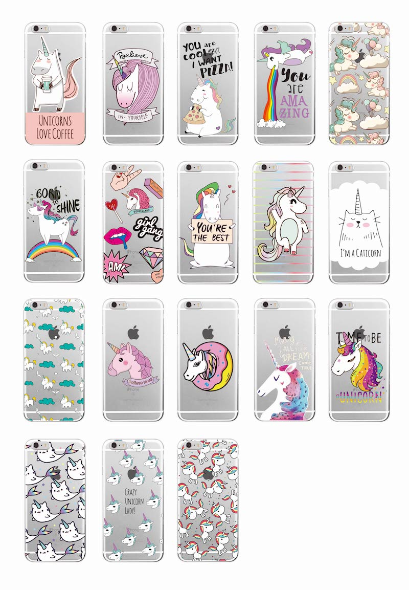 Cute Unicorn Rainbow Pizza Coffee Cartoon Quote Soft Clear Phone Case - Mobile Phone Accessories and Parts - Photo 2