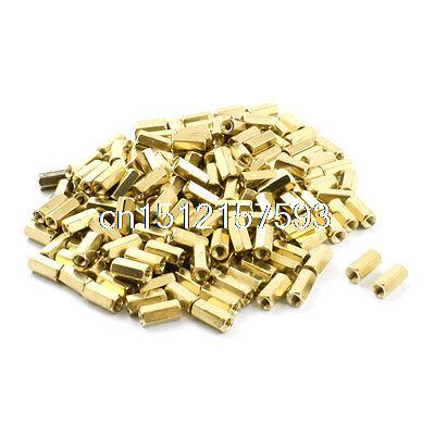 200 Pcs M3 x 10mm Female Thread Hex Head Brass Standoff Hexagonal Nut Spacer m2 3 3 1pcs brass standoff 3mm spacer standard male female brass standoffs metric thread column high quality 1 piece sale