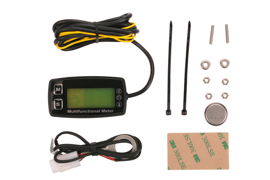 ФОТО Digital LCD RL-HM035T tachometer hour meter thermometer temperature for gas UTV ATV outboard buggy tractor JET SKI paramotor
