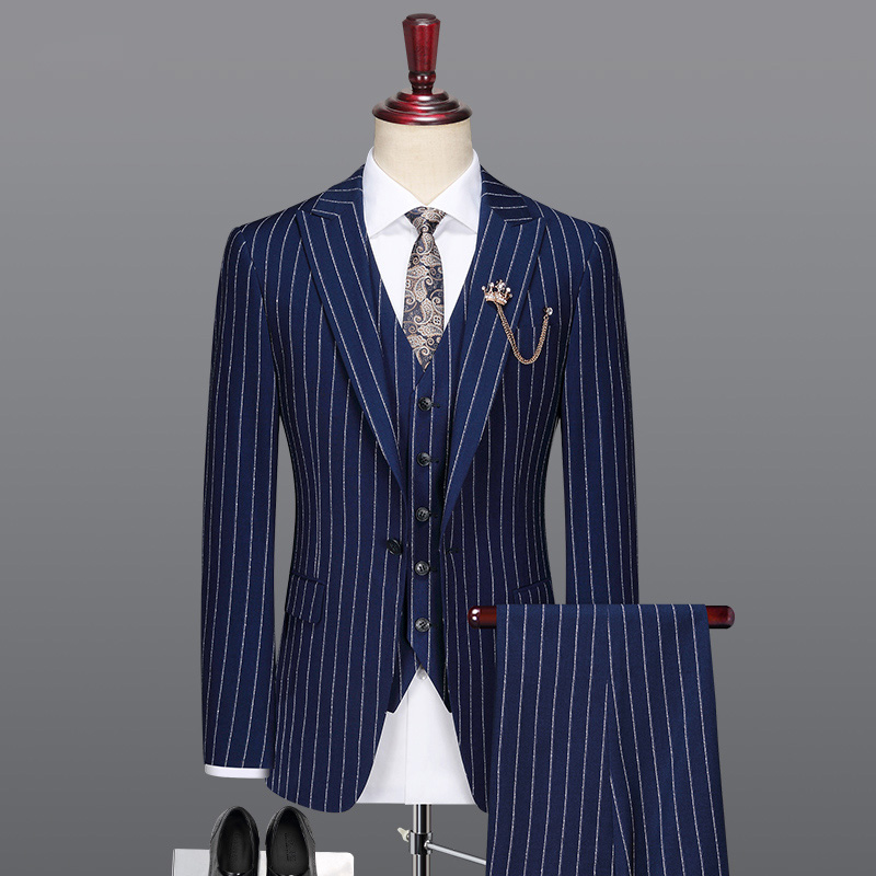 Men Suit Deep Blue Striped Casual Mens Suits With Pants Vests Wedding Suits For Men Father Day Gift 6xl Slim Fit Plus Size 58