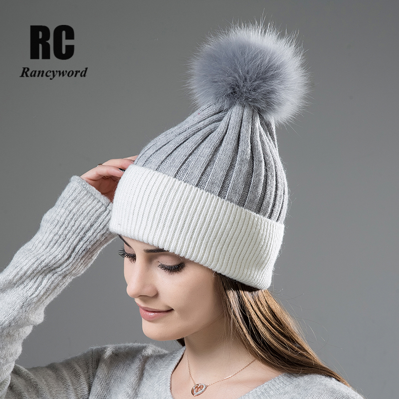 [Rancyword] High Quality Autumn Winter Wool Cashmere Women Hat   Skullies     Beanies   Hats for Female Fur Pompoms   Beanies   New RC1224