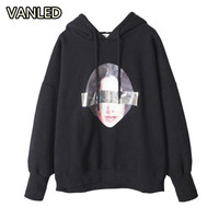Harajuku Letter Back Print BF Pullover Thicken Loose Hoodies Woman Autumn Winter New Street Wear Clothes