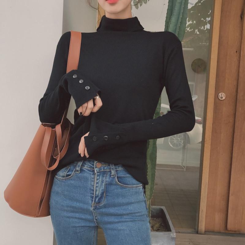 summer Slim tunic black Women T Shirt Long Sleeve Turtleneck Button Ulzzang Harajuku Korean fashion Vogue solid Top girls tee in T Shirts from Women 39 s Clothing
