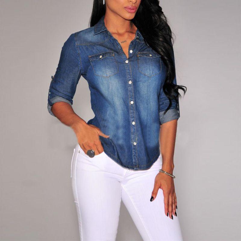 Las mujeres de Solapa Botón Azul Denim Jean Camisas de Bolsillo Delgada Blusa Su