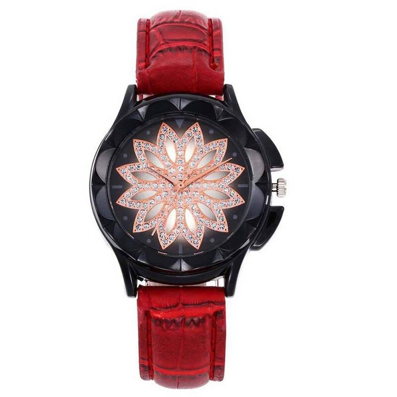 Women's Fashion Golden Wrist Watches Red Leather Watchband Top Luxury Brand Ladies Geneva Quartz Clock Female Wristwatch LB