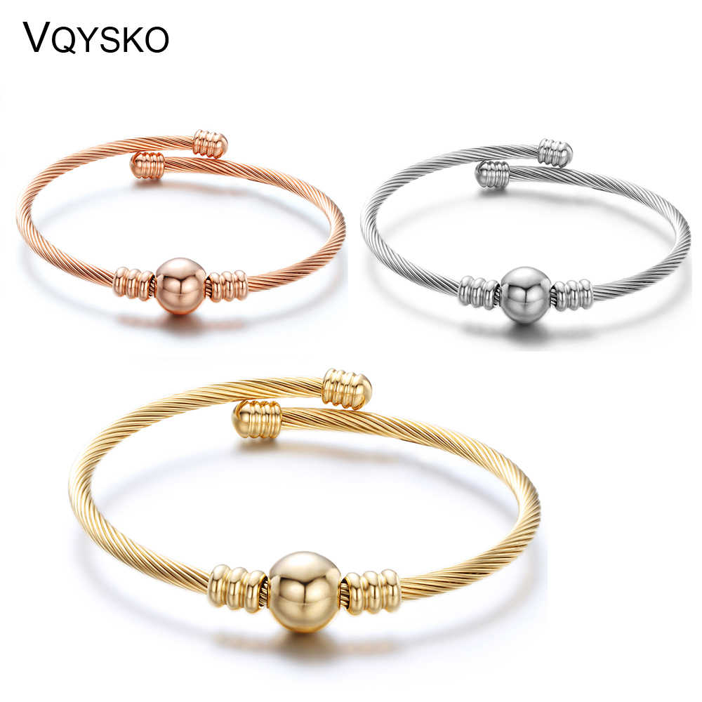 Adjustable Cable Mesh Bangles With Metal Bead Fashion Stainless Steel Jewelry Bracelets & Bangles For Women