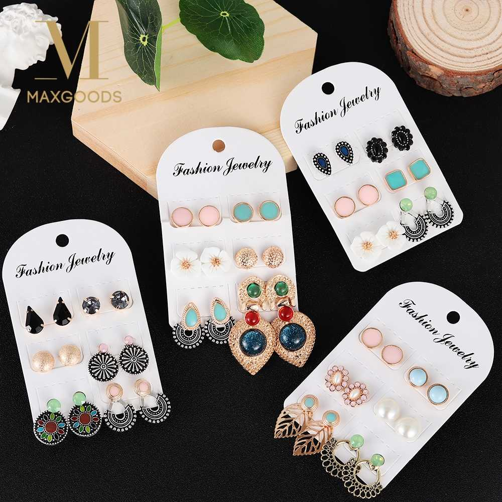 6 Pairs /set Fashion Vintage Stud Earring Set Leaf Flower Leaf Stud Earring Lot Retro Ear Jewelry Party Gifts for Women Decor
