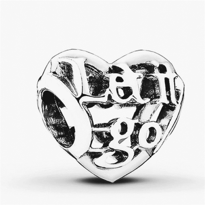 Let It Go Openwork Charm Beads 100% 925 Sterling Silver DIY Jewelry Fit pandora charms silver 925 original