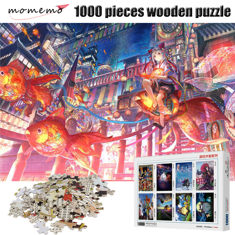 MOMEMO Flying Goldfish Assembling Adult Puzzles 1000 Pieces Jigsaw Puzzle Wooden Puzzle Games Educational Toys Puzzles