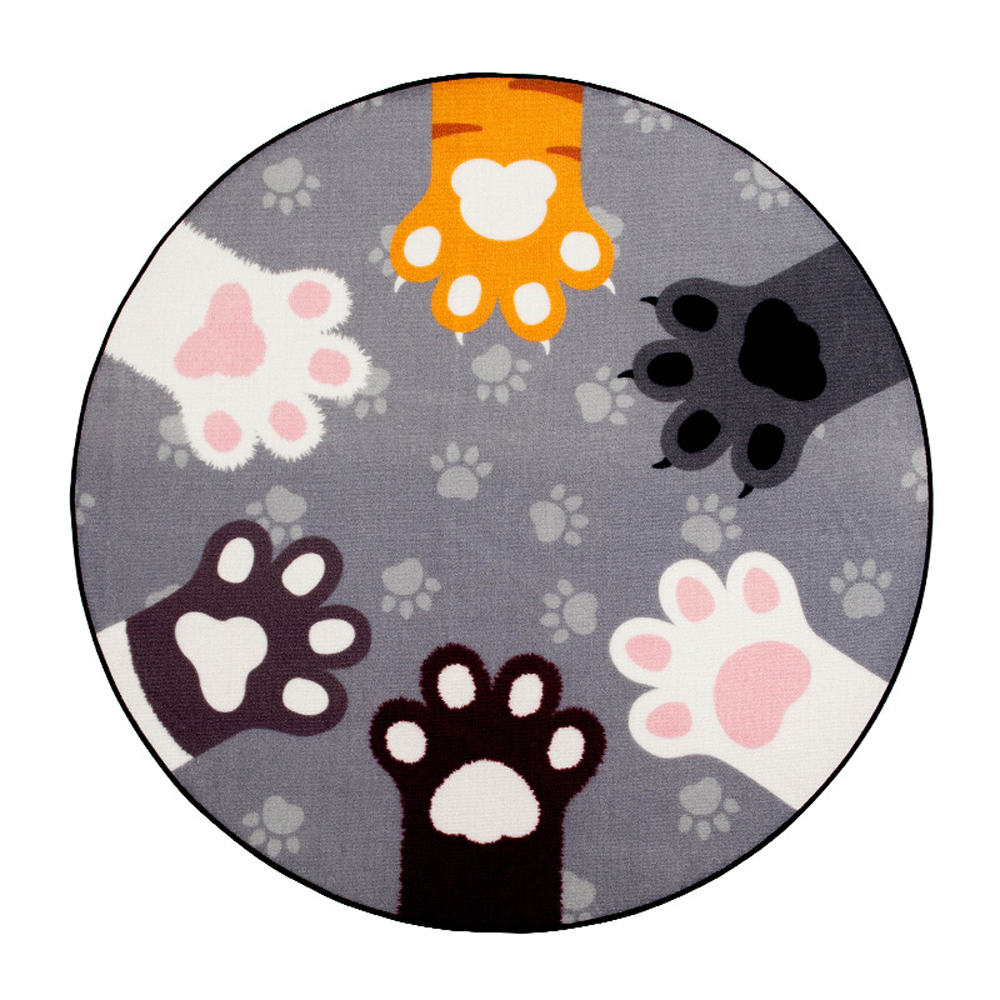 Pink/Black/Gray Cute Cats Paw Round Rug for Kids Room Smooth and Cozy Washable Non-slip Rugs and Carpet in Living Room