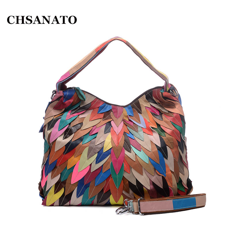 CHSANATO Leaves Colorful Handbag Genuine Leather Bags For Women Ladies Shoulder Bag Female Purses And Handbags