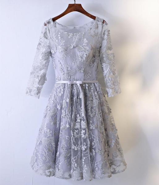 Newest Light Blue   Prom     Dresses   Knee Length Lace Applqiued Formal Evening Gowns Half Sleeve Cheap