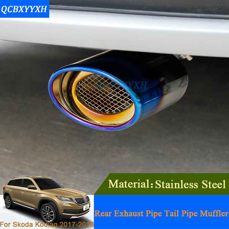Car Auto Exhaust Muffler Tip Stainless Steel Pipe Chrome Trim Modified Car Rear Tail Throat Liner For Skoda Kodiaq 2017 2018 stylish stainless steel car exhaust pipe muffler tip for benz 320 350 500