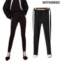 Withered 2017 Pencipants Harem Pants Women High Street Spliced Side Striped Skinny Sexy Elastic Waist Women