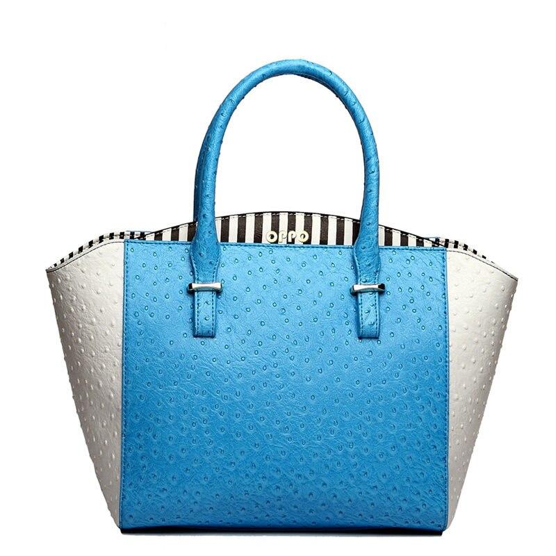 Ladies Ostrich Grain Leather font b Handbag b font Fresh Style Designer PU Tote Bag White