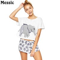 Messic Kawaii Elephant Print Cute T Shirt Women Crop Top 2018 Summer Short Sleeve Tee Shirt