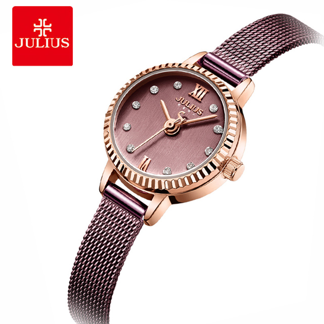 Julius Women Stainless Steel Mesh Bracelet Watches Creative Gear Dial Ladies Qua