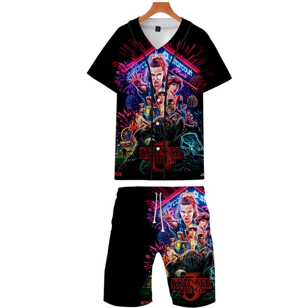 Stranger Thing 3 3D Printed Two Piece Set Summer Baseball T-shirts+Casual Shorts Fashion Trendy Streetwear Clothes 2019