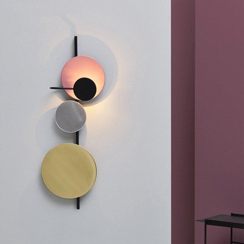 Креативный красочный прикроватный светодиодный настенный светильник для гостиной, настенный светильник для столовой, бра, арт деко, разъем 220 В, магнитная пластина, свободно регулируется - 3
