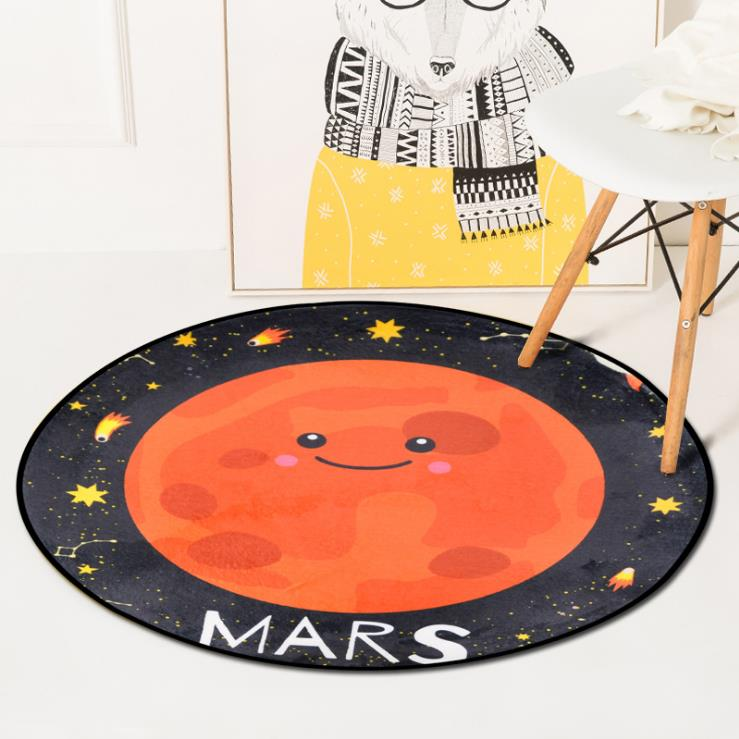 Cartoon Planet Carpet Round Thick Soft Carpets For Living Room Computer Chair Area Rugs Cloakroom Floor Mat Rug Kids Room Mats