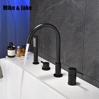 Черный водопад смеситель для ванной с латунная ручка для душа двойная функция черный кран для ванной на бортике смеситель для душа для ванн