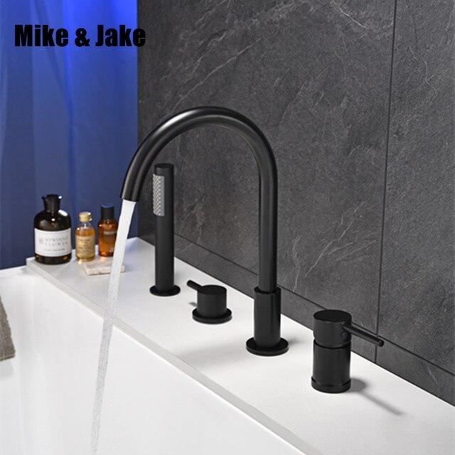 أسود شلال خلاط حوض الاستحمام مع النحاس دش يدوي وظيفة مزدوجة الأسود حنفية الحمام سطح الخيالة حمام دش صنبور MJ04118H