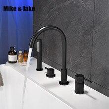 Preto cachoeira misturador da banheira com latão chuveiro de mão dupla função preto torneira do banho deck montado torneira do chuveiro mj04118h