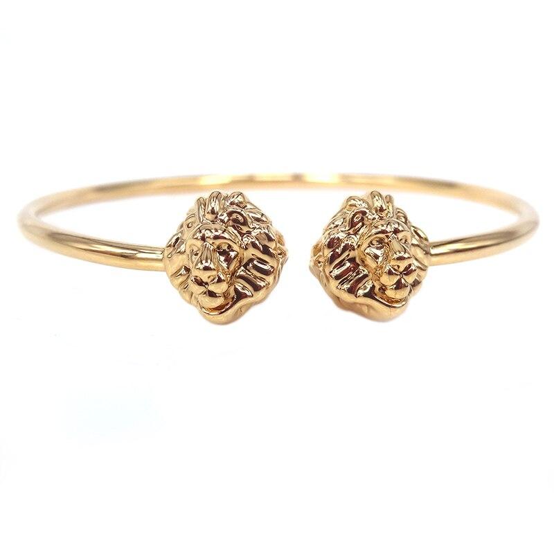New atolyestone Lion Head Bangle,Lucky Cuff Watch Bracelet 24K Gold Plated Open Bangle For Men Atloyewolf Jewelry,Best Gift bangle