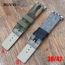 Nuevo camuflaje lienzo + correa para apple watch banda de cuero genuino 42mm correa de repuesto para iwatch venda de 38mm 42mm