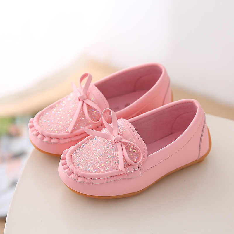 Boys Girls PU Leather Oxford Flat Shoes Kids Boat Sneakers Loafers Beanie Shoes