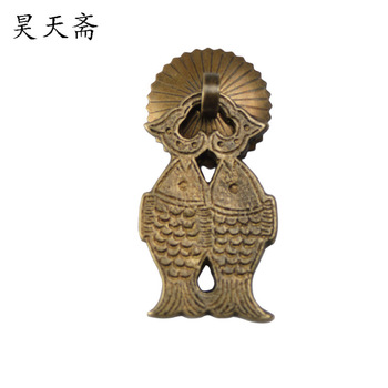 [Haotian vegetarian] Chinese antique furniture cabinet drawer handle copper handle diving kite flying HTE-147